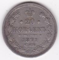 Russie 20 Kopeks 1871 St. Petersburg. Alexander II, En Argent. Y# 22a.1 - Rusland