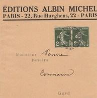 PAIRE SEMEUSE 2C YT 278 SUR BANDE JOURNAL EDIT ALBIN MICHEL PARIS 28/4/34 POUR CONNAUX GARD - 1921-1960: Periodo Moderno