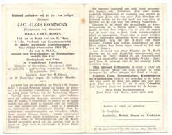 Devotie Doodsprentje Overlijden - Oudstrijder Jac. Alois Koninckx - Brasschaat 1889 - Wildert 1962 - Obituary Notices