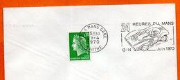 72 LE MANS GARE  24 HEURES   1970 Lettre Entière N° JK 217 - Postmark Collection (Covers)