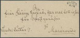 PREUSSEN DANZIG, Halbkreisstempel Auf Briefhülle Nach Marienwerder, Reg-bug, Pracht - Preussen
