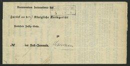 PREUSSEN GRUENCHOTZEN, R2 Auf Postbehändigungsschein (1865), Innen Mit Krone-Posthornstempel, Pracht - Preussen