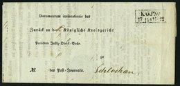PREUSSEN KARPNO, R2 Auf Insinuations-Dokument (1856) Nach Schlochau, Innen Mit Seltenem Krone-Posthorn-Stempel KARPNO, P - Preussen
