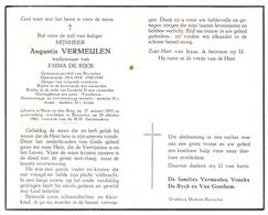 Devotie Doodsprentje Overlijden - Oudstrijder Augustin Vermeulen - Heist Op Den Berg 1893 - Booischot 1961 - Décès