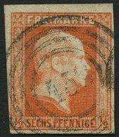 PREUSSEN 1 O, 1851, 1/2 Sgr. Rotorange Mit Nummernstempel 458, Pracht - Preussen