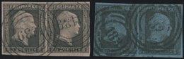PREUSSEN 2a,3 Paar O, 1850, 1 Sgr. Schwarz Rosa Und 2 Sgr. Schwarz Auf Graublau, Je Im Waagerechten Paar, Pracht - Preussen