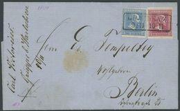 PREUSSEN 10b,11a BRIEF, 1861, 1 Sgr. Karminrosa Und 2 Sgr. Blau, R2 GRAUDENZ, Prachtbrief Nach Berlin - Preussen