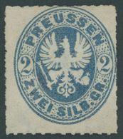 PREUSSEN 17b (*), 1862, 2 Sgr. Preußischblau, Feinst (Gummi Nicht Original), Mi. 500.- - Preussen
