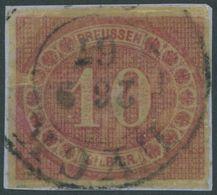 PREUSSEN 20 BrfStk, 1866, 10 Sgr. Rosarot Auf Knappem Briefstück, K2 LYCK, Pracht - Preussen