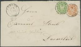PREUSSEN 22,U 35 BRIEF, 1867, 1 Kr. Smaragdgrün Als Zusatzfrankatur Auf 2 Kr. Ganzsachenumschlag, Seltener TuT-K2 GEDERN - Preussen