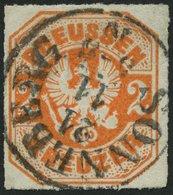 PREUSSEN 23 O, 1867, 2 Kr. Orange, Zentrischer TuT-Stempel SONNEBERG, Pracht, Gepr. Pfenninger, Mi. (120.-) - Preussen