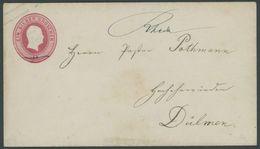 PREUSSEN U 11aA BRIEF, 1855, RHEDA, Handschriftlich Auf 1 Sgr. Ganzsachenumschlag, Format A, Nach Dülmen, Pracht - Preussen