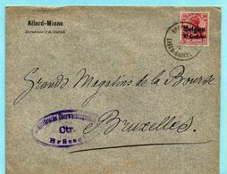 OC 3 Sur Lettre, Obl. BRAINE L'ALLEUD 19/12/1915 + Censure BRUSSEL - [OC1/25] General Gov.