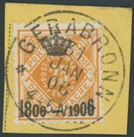 WÜRTTEMBERG 111 BrfStk, 1906, 25 Pf. Dunkelgelblichorange, K1 GERABRONN, Postabschnitt, Prachtbriefstück, Mi. (90.-) - Wuerttemberg