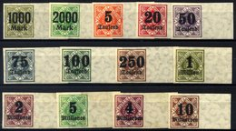 WÜRTTEMBERG 171-83PU**, *, 1923, Ziffer In Raute, Ungezähnt, Alle Mit Breitem Rechten Rand, Prachtsatz - Wuerttemberg