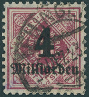WÜRTTEMBERG 182 O, 1923, 4 Mrd. Auf 50 Pf. Karmin, Pracht, Gepr. Infla, Mi. 140.- - Wuerttemberg