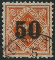 WÜRTTEMBERG 188 O, 1923, 50 Auf 25 Pf. Rotorange, Stempel WEISSENAU, üblich Gezähnt Pracht, Fotoattest Winkler, Mi. 1100 - Wuerttemberg