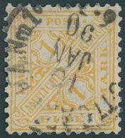 WÜRTTEMBERG 207 O, 1881, 1 M. Dunkelorangegelb, Feinst, Mi. 220.- - Wuerttemberg