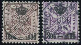 WÜRTTEMBERG 225/6 O, 1906, 25 Pf. Und 1 M. 100 Jahre Königreich, 2 Prachtwerte, Mi. 175.- - Wuerttemberg