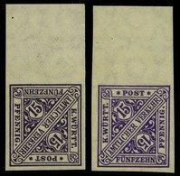 WÜRTTEMBERG 252PU **, 1917, 15 Pf. Violettschwarz (2 Verschiedene Farben!), Ungezähnt, Mit Oberrand, 2 Prachtwerte (1x L - Wuerttemberg