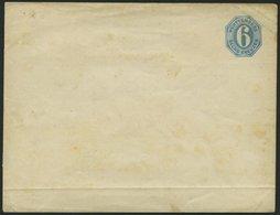 WÜRTTEMBERG U 2IAb BRIEF, 1862, 6 Kr. Hellblau, Großer Unregelmäßiger Überdruck, Klappenstempel 1, Format A, Ungebraucht - Wuerttemberg