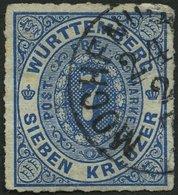 WÜRTTEMBERG 39a O, MOCHENWA(NGEN) Auf 7 Kr. Blau, Kleine Mängel, R! - Wuerttemberg