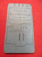 Ticket Ancien Usagé/HERBLAY BEAUMONT PERSAN/3éme Classe /Place Entiére/Prix 1,75 /Vers 1900-1950  TCK90 - Treni
