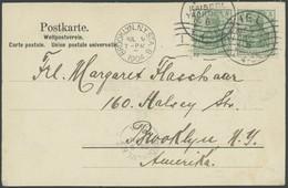 SST Bis 1918 04 BRIEF, KIEL KAISERL. YACHTCLUB, 28.6.1904, Auf Ansichtskarte Nach New York Mit Waagerechtem Paar 5 Pf. G - Briefe U. Dokumente