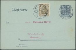 SST Bis 1918 05 BRIEF, KIEL KAISERLICHER YACHTCLUB * A, 25.6.1908, Auf 2 Pf. Germania Ganzsachenkarte Mit 3 Pf. Zusatzfr - Briefe U. Dokumente
