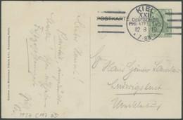 SST Bis 1918 08 BRIEF, KIEL XXII. DEUTSCHER PHILATELISTENTAG, 12.8.1910, Auf 5 Pf. Privat-Ganzsachenkarte (PP 27C117/03) - Briefe U. Dokumente