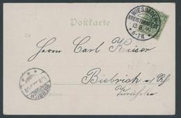 SST Bis 1918 01 BRIEF, WIESBADEN KREISTURNFEST, 13.8.1899, Auf Ansichtskarte Vom Festplatz Zurück!, Pracht - Briefe U. Dokumente