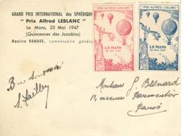 """1947 LE MANS Grand Prix International Des Sphériques """"Alfred Lebalanc"""" + Vignettes - Riunioni"""