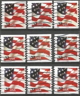 USA Flag 2002 Issue Coils P.10 Vert. - Cpl 9v Set Used ALL WITH PLATE NUMBER #1 To #9 - Machine Stamps (ATM)