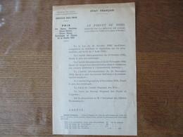 ETAT FRANCAIS LE 21 DECEMBRE 1942 REGION DE LILLE SERVICE DES PRIX, PRIX DES RAVES RAVIOLES CHOUX-NAVETS CHOUX-RAVES RUT - Documents Historiques