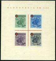 RHEINLAND PFALZ Bl. 1I/V (*), 1949, Block Rotes Kreuz, Type V: Roter Querbalken Des B In Blockpreis Verdickt, Falzrest,  - Französische Zone