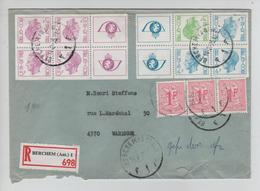 REF408/ TP Carnet 10-11 Baudouin Elström+TP 1027B (3) Double Port S/L.recommandé C.Berchem(Antwerpen) 14/2/75 > Waremme - Storia Postale