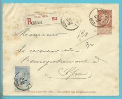 60 Op Briefomslag, Aangetekend Met Cirkelstempel ENSIVAL - 1893-1800 Fijne Baard