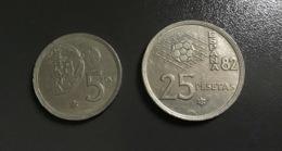 SPAGNA  ESPANA - 1980 - 2 Monete 5 E 25 PESETAS - Mondiali 82 ,  Ottime - [ 5] 1949-… : Regno