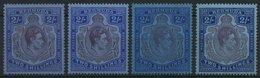 BERMUDA-INSELN 111a-c *, 1938-43, 2 Sh., Gezähnt 14, 4 Verschiedene Werte, Falzrest, Pracht - Bermuda