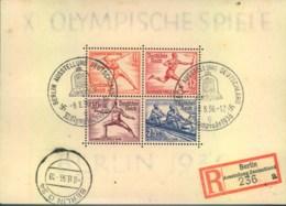 """Olympia 1936, Berlin, Block 6 Gestempel """"BERLIN AUSSTELLUNG DEUTSCHLAND Mit Sonder-R-Zettel - Summer 1936: Berlin"""