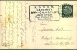 """1939, Ansichtskarte (Wittdün/Amrum) Mit Nebenstempel """"NSDAP Schwäbische Hitler-Jugend-Lager"""" - Cartas"""