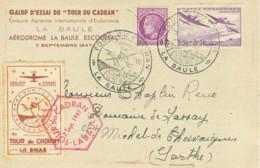 """1947 LA BAULE Epreuve Aérienne """"Tour Du Cadran"""" + Vignette Et Cachet Spécial - Fliegertreffen"""