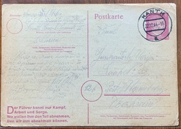 KANTH ( BRESLAVIA) 22/12/44   POSTKARTE  GERMANY( Motto FÜHRER ) Scritta Da SCHLESIEN To  OBERTRAUN AUSTRIA - Storia Postale
