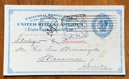 U.S.A - POSTAL CARD 2 CENTS  FROM  NEW YORK  2/11/1894  TO MESSINA - SICILY ITALY  - AUTOGRAPH GEORGE LUEDERS - Covers & Documents