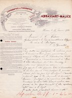 FACTURE DE 1922 - IMPRIMERIE * ABRASSART MALISSE - HORNU * TYPOGRAPHIE LITHOGRAPHIE - Printing House - Drukkerij - Art - Printing & Stationeries