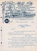 FACTURE DE 1923 - PRODUITS IMPRIMERIE * HUBERT DRESSE - Bruxelles * Art Graphique - Jugendstil - Art Nouveau ! - Printing & Stationeries