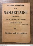 Grands Magasins De La SAMARITAINE Soiries Noires Couture - Autres