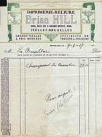 FACTURE DE 1917 - IMPRIMERIE * BRIAN HILL - Bruxelles * Art Graphique - Art Deco -  Jugendstil - Art Nouveau ! - Printing & Stationeries