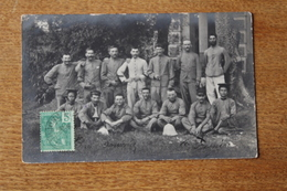 Carte Photo  La Coloniale Sergent Avec Son Escouade En Indochine 1910  Dont Tirailleurs Amanites - Guerre, Militaire