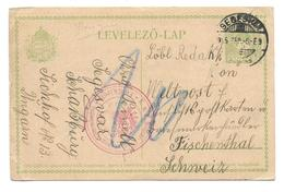 Hungary Censor Mail Zensur WW1  Feldkirch  Segesvar - Fischenthal Schweiz  1915 - Altri